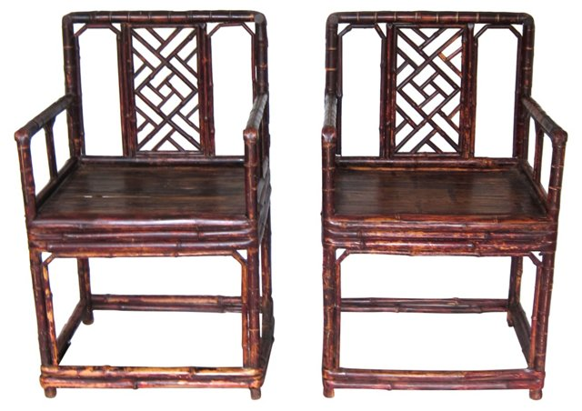 Antique Chinese Bamboo Armchairs, Pair