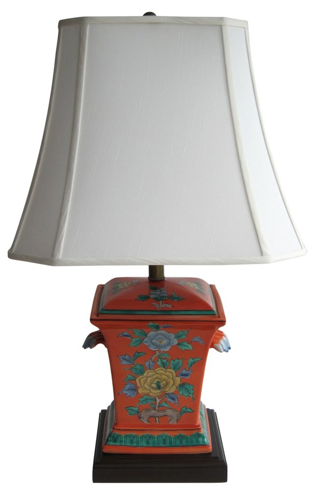 Asian Orange Floral Lamp