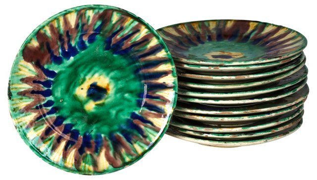 Mexican Majolica Plates, Set of 12