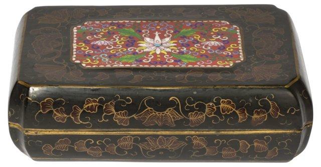 Antique Chinese Lacquer Cloisonné Box