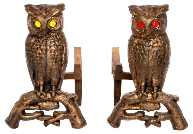 Bronze Owl Andirons, Pair