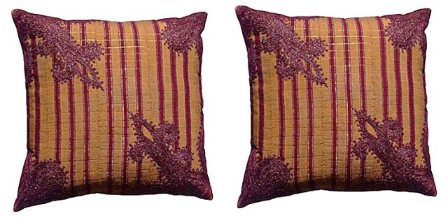 Tan Embroidered Nigerian Pillows, Pair