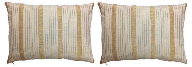 Gold Yoruba Handwoven Pillows, Pair