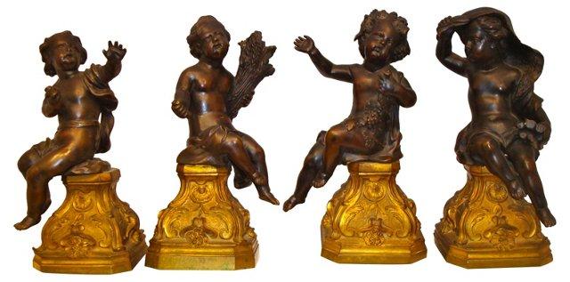 Bronze Four Seasons Putti, S/4