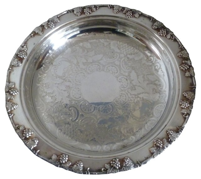 Deep Footed Silverplate Serving Tray