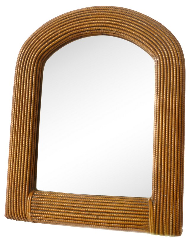 Petite Arched Wicker Mirror