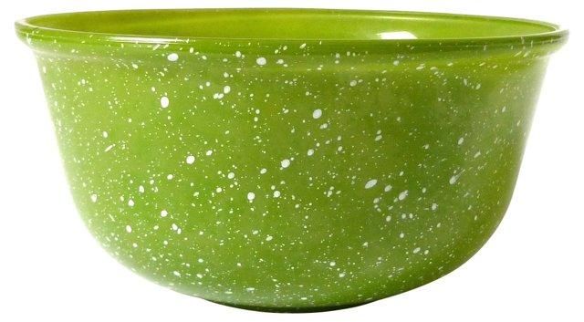 Green Glass Splatterware Mixing Bowl