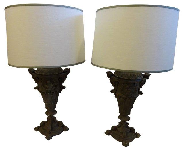 Victorian Metal Urn Lamps, Pair