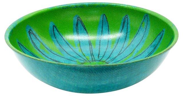 Green & Blue Petal Serving Bowl