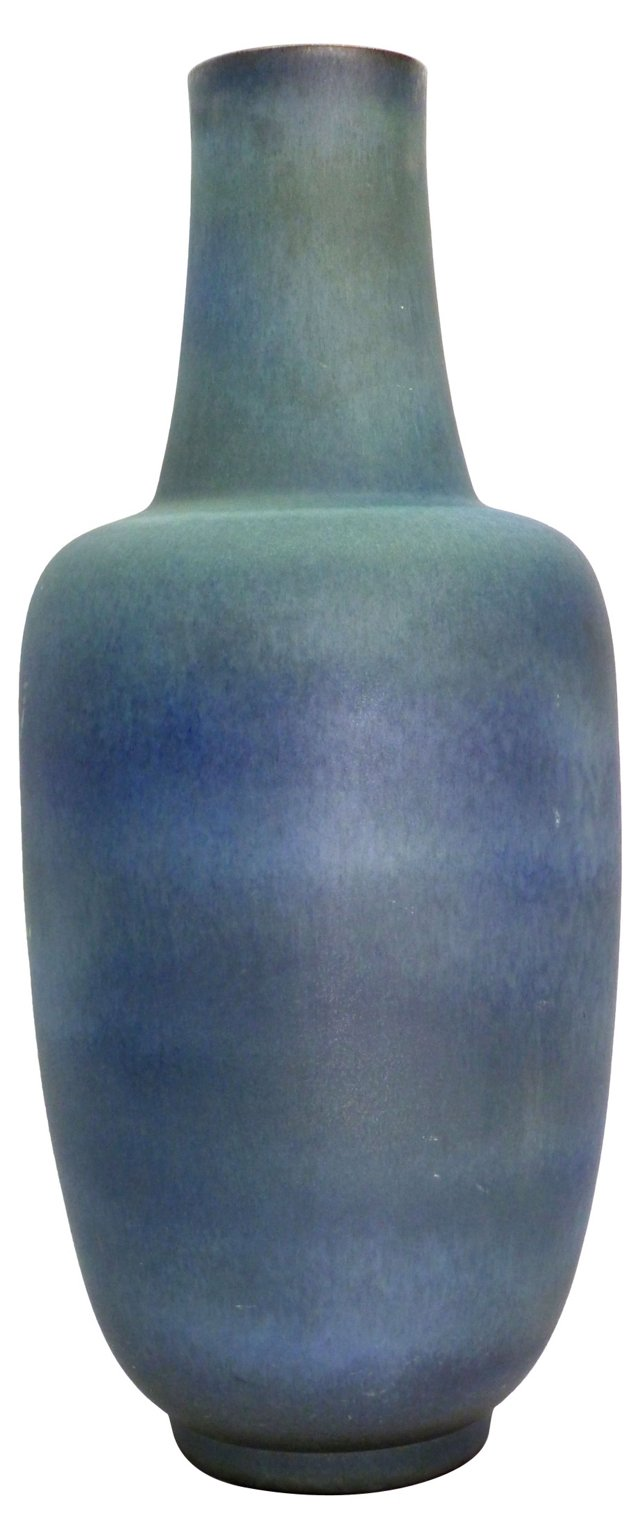 Monumental Blue Glaze Floor Vase