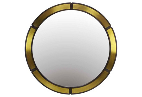 Large Round Mirror w/ Brass Plates