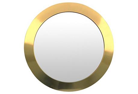 C. Jeré Round Brass Mirror, 1977