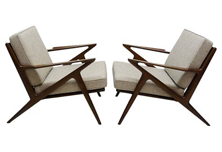 Danish Modern Lounge Z Chairs, Pair