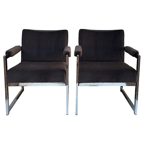 Velvet & Chrome Chairs, S/2