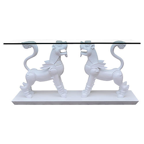 Monumental White Foo Lion Console Table