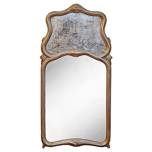 Chinoiserie Silver Gilt Trumeau Mirror