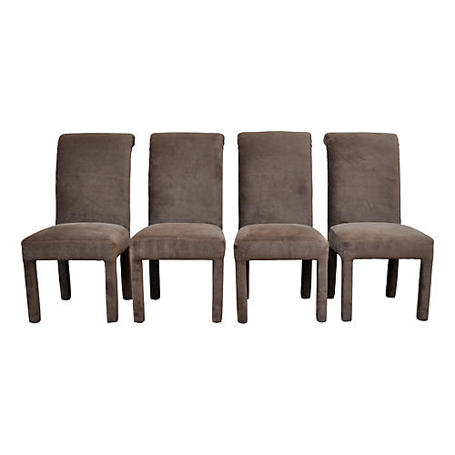 Taupe Velvet Parsons Chairs, S/4