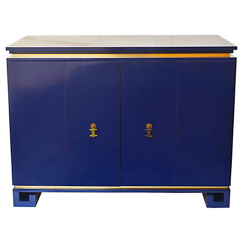 Blue Greek Key Cabinet