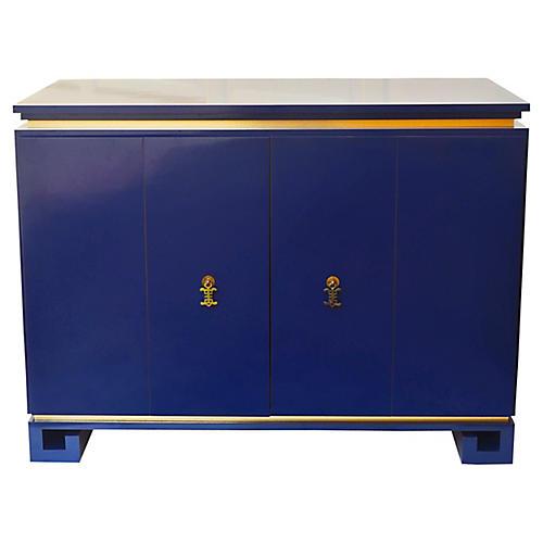 Blue Greek Key Cabinet