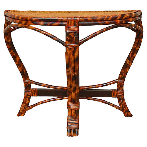 Rattan Faux Tortoise Demi-lune Table