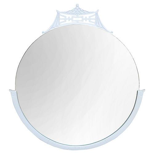 White Chinoiserie Round Pagoda Mirror