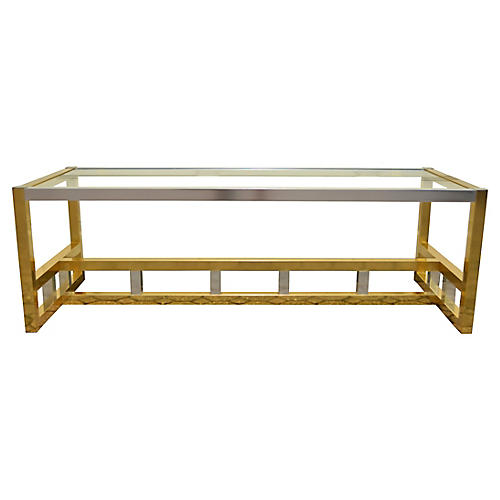 Modern Brass and Chrome Coffee Table