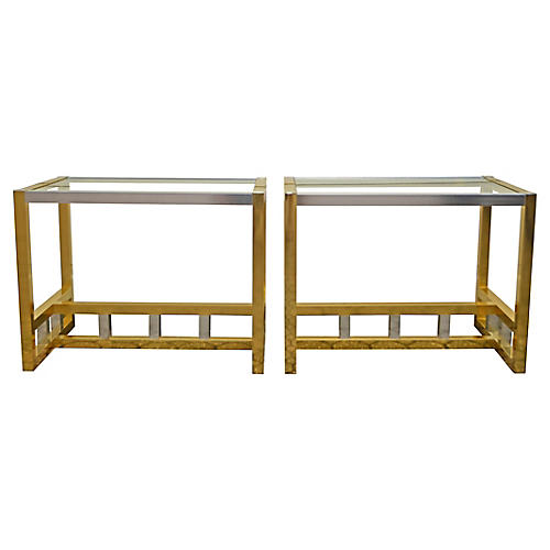 Brass and Chrome Modern End Tables