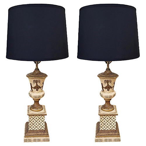 Italian Chinoiserie Table Lamps, Pair