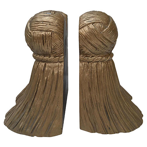 Gilded Tassel Bookends, Pair