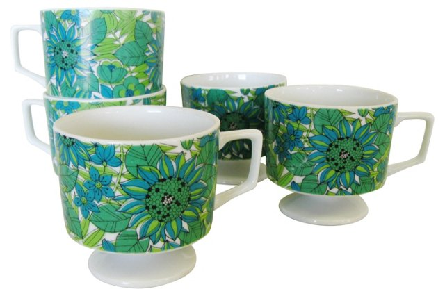 Footed Coffee Cups, S/5