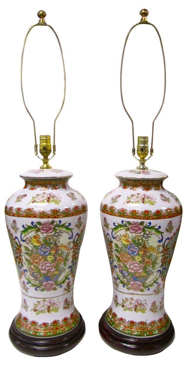 Hand-Painted Porcelain Lamps, Pair