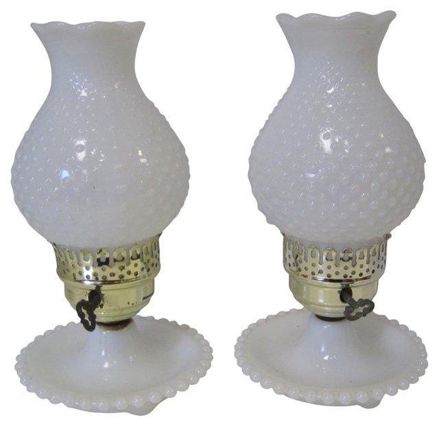 Milk Glass Bedside Lamps, Pair