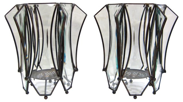 Beveled Glass Hurricanes, Pair