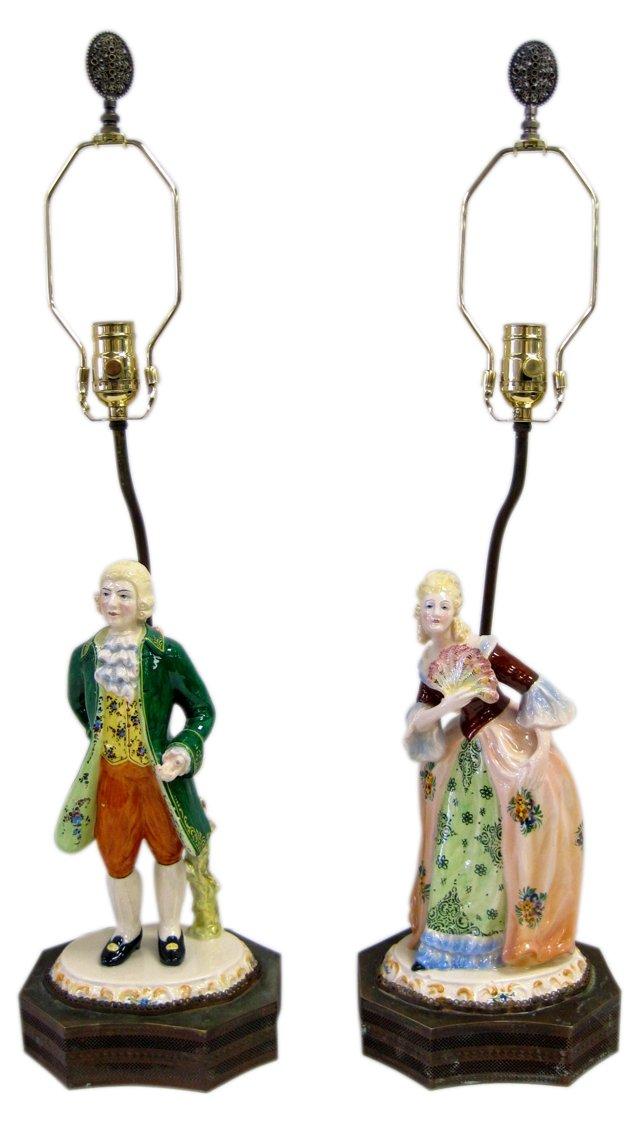 Man & Woman Porcelain Lamps, Pair