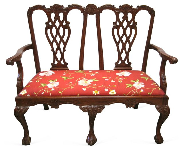 Carved  Mahogany Settee