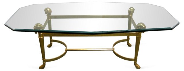 Brass Ram's Head Glass Table