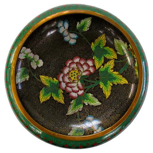 Black Cloisonné Floral Bowl