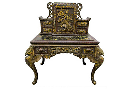 Carved Chinese Desk w/ Griffins
