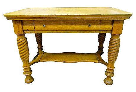 Antique Oak Desk w/ Turned Legs