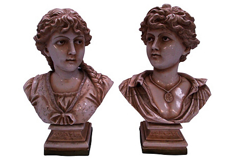 Porcelain Boy and Girl Busts