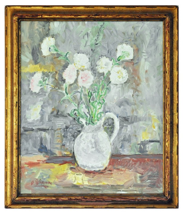 Still Life of Pink & White Flowers