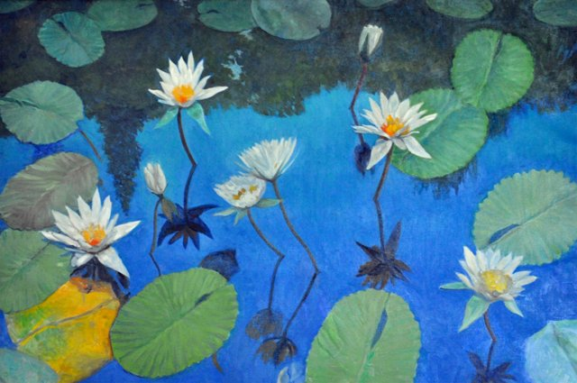 Blue Sky, White Water Lilies
