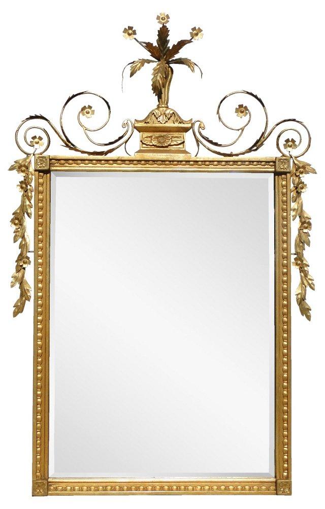Gold Mirror w/ Leaf Crest