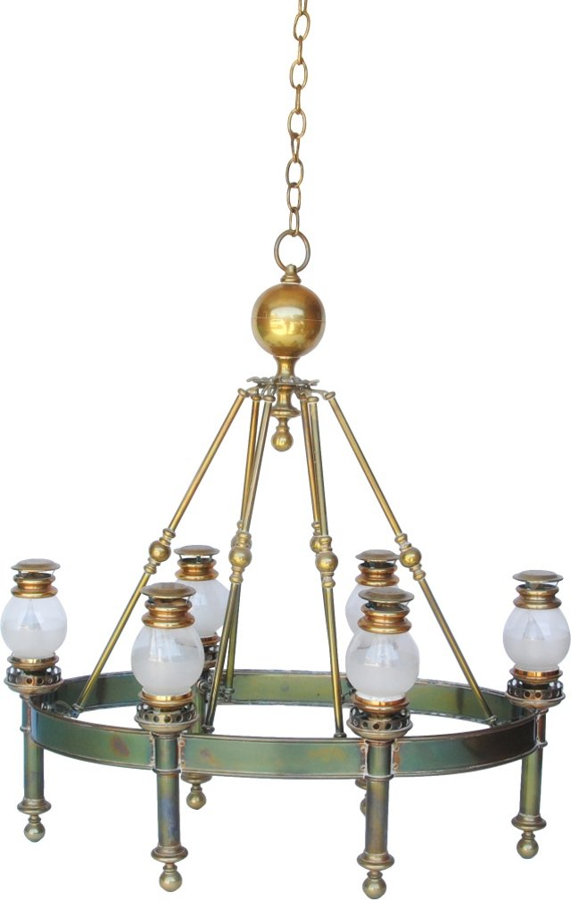 Antique Brass Railway Chandelier