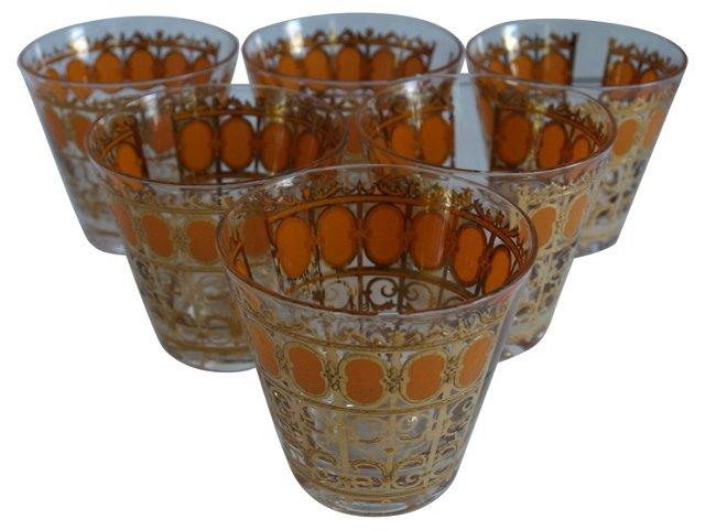 Orange & Gold Glasses, S/6