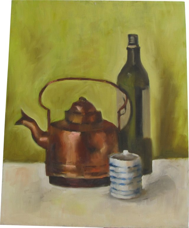 Copper Teapot & Wine Bottle