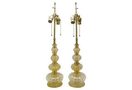 Barovier & Toso Murano Glass Lamps, Pair