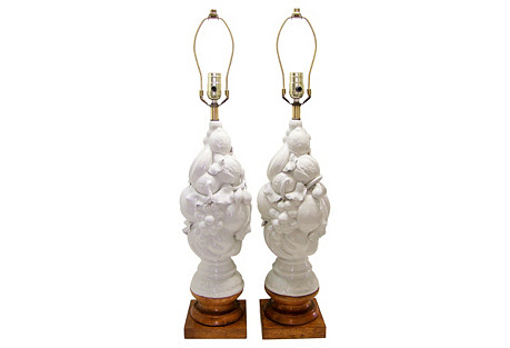 Italian White Porcelain Fruit Lamps, S/2