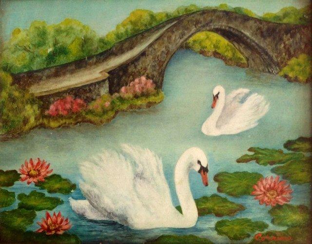 Miniature Landscape w/Swans