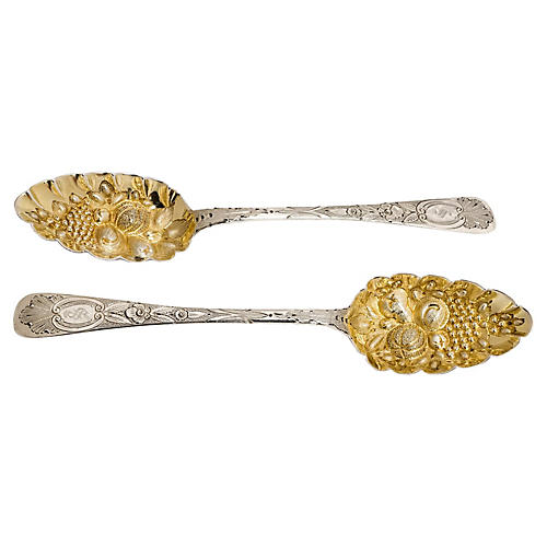 19th-C. Irish Sterling Spoons, S/2